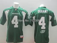 Wholesale 2014 CFL Saskatchewan #4 Roughriders DURANT green White Canada Football League Jerseys For Men ,Size M-XXXL