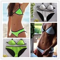 Neoprene Sexy Bikinis Set Women Brand Vintage Triangle Swimwear Bikini Neon Monokini Bathing Suit Maillot De Bain202 7 Colors