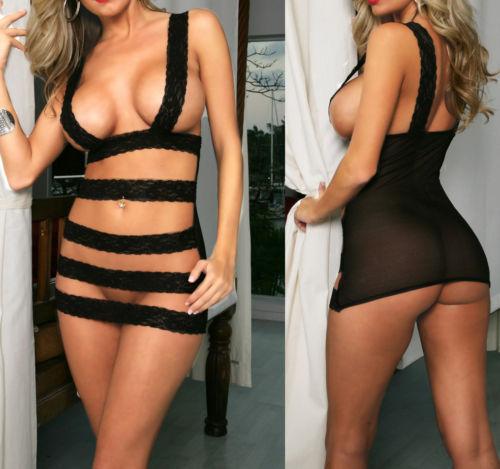 New Sexy Lingerie Dress Underwear Lady Black Teddy+G-string#135UK(China (Mainland))