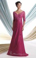 Hot Sell ! Long 3/4 Sleeve Chiffon Designer Evening Dress ,Mother Dresses 2014 with Beaded Embroidery at Top