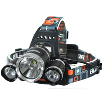 4000 Lumens 3 x CREE XM-L  T6 LED  Headlamp Rechargeable Headlight Head Torch Flashlight  Free Shipping