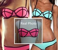 Swimwears Triagl Women's Fashion Neoprene Bikinis Woman New Summer 2014 sexy Swimsuit Set bath suit Push Up Bikini Set Hot Sale