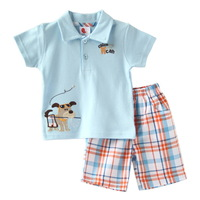 baby boy sets Summer Short Sleeve Polo Shirt+Check Short Pant 100% Cotton Brand Fashion Children Outfits