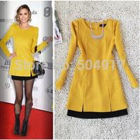 2014 Autumn and winter Elegant Plus size XL dress Temperament Wild Stitching Woolen Long-sleeved Pockets dress Blue Rose Yellow
