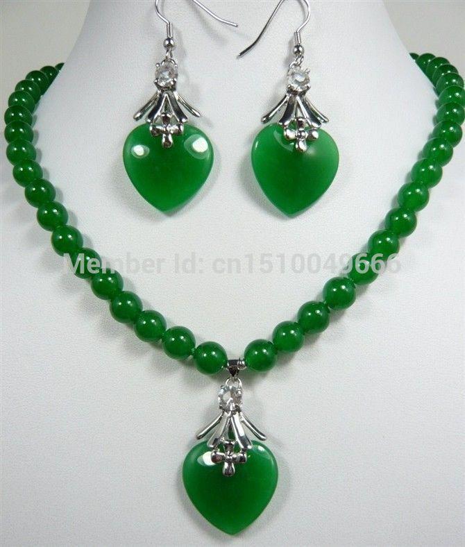 Hot sale FREE SHIP>>>>8mm green jade necklace heart love pendant earrings set(China (Mainland))