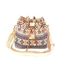Free Shipping 2014 New Women Handbag National Trend Bohemia Style Print Chain Drawstring Bucket Bag Women Messenger Bag