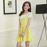 641 real pictures with model 2014 sweet slim chiffon one-piece dress