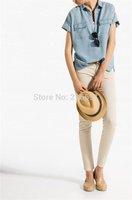 2014 new fashion women summer elegant short sleeve denim blouse Lady casual loose brand design long shirt #E692