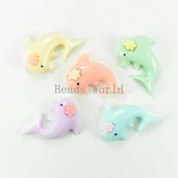 Free Shipping 50 Pcs Mixed Dolphin Resin Cabochon Embellishment Jewelry Making Findings DIY Phone Decoration 29x24mm(W03801)