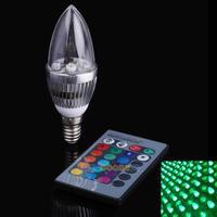 LS4G 3W RGB E14 LED Light Bulb Candle Light 16 Colors AC85-265V Remote Control
