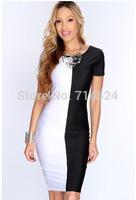 2014 New fashion high quality black white Patchwork women summer elegant party short sleeve bodycon dress