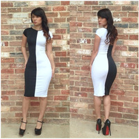 2014 New hot selling high quality black white Patchwork lady  summer sexy evening club short sleeve slim plus size bodycon dress