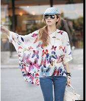 4262 women new 2014 summer autumn maternity blouse shirt print stripe casual batwing chiffon blusa tops 4xl 5xl 6xl plus size