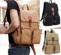 New 2013 fashion Women men solid canvas backpack school college bag laptop bag travel shoulder bag mochila bolsas