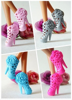 Wholesale 6 pairs/lot Mixed Color/style Sexy high-heeled shoes For Barbie Doll festival Gift for Children-Random delivery