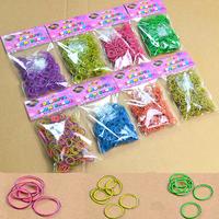 "Solid color double - deck Rubber Band DIY weave bracelet Children 's educational Loom Amazing gift 300 PCS/pack 12""s"" wholesale"