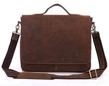 New Arrival Crazy Horse Leather Men's Messenger Bag Briefcases Laptop bag Handbag Cross Body Bags # 7108R-1(China (Mainland))