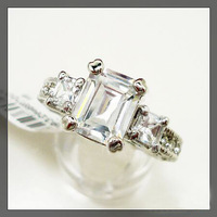 2014 New!! HOT!!! Wedding Rings Platinum Plated Use Clear 2Ct  NSCD Simulated Diamond Ring Drop Shipping  with card certificate