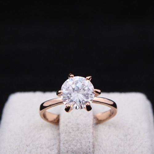 Wholesale New Jewelry 18K Rose Gold Plated Wedding Cubic Zircon CZ Ring High Quality R375(China (Mainland))