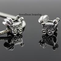 5Pcs/Lot Quality Spacer Beads 925 Silver Big Hole Love Heart Kids Stroller Charms Fits DIY European Bracelet SeenDom Jewelry