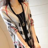 2014 women's clothes autumn new fashion Plaid loose bat long sleeve high quality mercerized wool knit cardigan sweater shawl