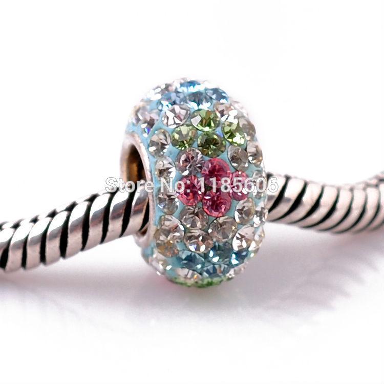 Wholesale 925 sterling Silver Pendants charms Crystal beads fit pandora DIY bracelets necklaces for women
