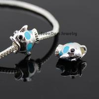 5Pcs/Lot Quality Lovely Fish Beads 925 Silver Big Hole CZ Stone Eye Fish Charms Fits DIY European Bracelet SeenDom Jewelry