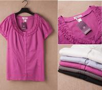4Color 4XL-8XL Plus Size Casual Women Stripe Cotton Blouse Office Lady Shirt Big Size Oversize XXXXL 6XL 2014 New Fashion Summer