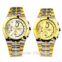 Golden Full Sliver Stainless Steel Belts Dress Watch Clock Mens Male 2014 New Luxury Relogio Round Analog Night Light Wristwatch