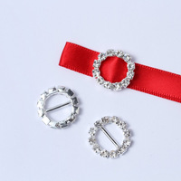 100pcs 15mm Round Sparkle Crystal  Rhinestone Ribbon Buckle DIY button Slider Wedding Decoration