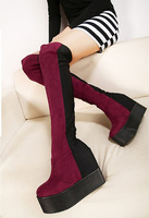 women's platform wedges high heels boots female over the knee high leg Elevator shoes 2014 winter black boots sy-449