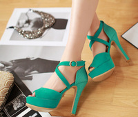 Wholesale Cross nightclub European and American fashion high with thin straps pumps with the fish head sandals XG182