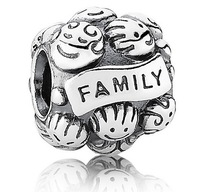 Sterling 925 Silver Family Love Charm Bead With Thread DIY Beads
