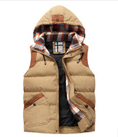 2014 men's hooded winter coat sleeveless vest wild men brand men tide