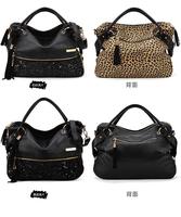 2014 Korean Fashion women new girls hot shoulder bag multi-function Crossbody Bag tassel sequins paillette flash Leopard Printed