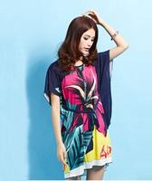 European and American fashion women silk dress new summer dress code bat sleeve dress bohemian cool lady dress