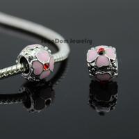5Pcs/Lot Quality Spacer Bead 925 Silver 3 Sides Red CZ Stone Pink Enamel Flower Charm Fits DIY European Bracelet SeenDom Jewelry
