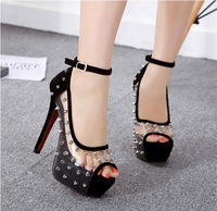 Sexy transparent crystal sandals female thin heels high heels trend of spike rivet princess shoes platform women's pumps
