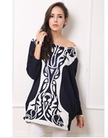 New 2014 women dress retro fashion cashmere hot drilling porcelain large size dress fat MM female cool dress free shipping