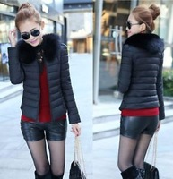 Short design wadded jacket female 2014 spring large fur collar slim small cotton-padded jacket down cotton-padded jacket