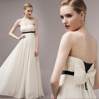 2014 new elegant bow women porm dress sexy long maxi chiffon dresses summer chiffon clothing party eneving dresses