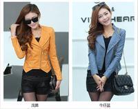 2014 new spring women clothes slim plus-size short High quality women leather jacket fashion leather coat