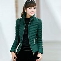 winter women coat 2014 new brand fashion jacket luxury  Stand collar overcoat warm thicken down-cotton slim parka jackets