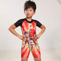 Superman boxer pants big boy short-sleeved baby sunscreen cartoon clothes children's swimwear piece swimsuit Spiderman