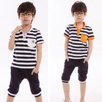 Korean version of the 2014 summer children suit wholesale money navy wind stripe suit summer short-sleeved track suit children