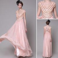 Free shipping 2014 new 100% Tencel European high-end V-neck short sleeve beaded star Slim Long evening dress