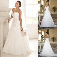 2014 Free Shipping Factory Custom High Quality Strapless Sweetheart Chiffon Beaded Classic Wedding Dresses New Style