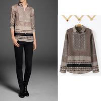 Fashion ZaraStyle Full Sleeve Chiffon women blouses,Vintage Print Regular blusas femininas