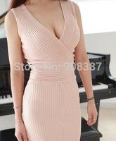 2014 new Korean celebrity  long sleeveless tank vest dresses sexy bodycon Vintage deep V neck Kintting dress for women work wear