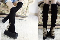women's flock platform wedges high heels boots female over the knee high leg Elevator shoes 2014 winter Leopard boots sy-455
